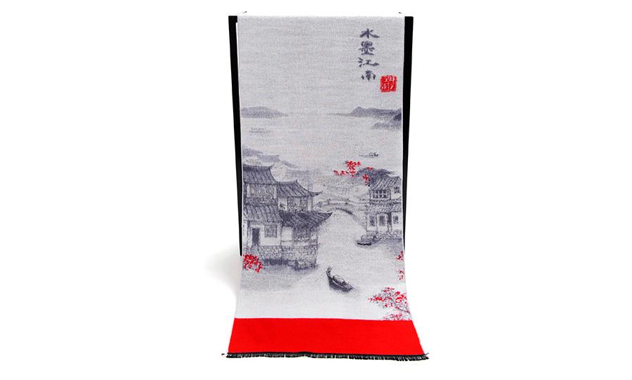 艾丝雅兰为旅游公司定制山水花卉主题围巾